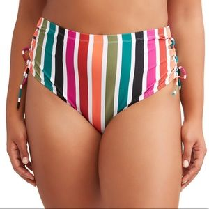 Terra & Sky Striped Bikini Bottoms High Waist